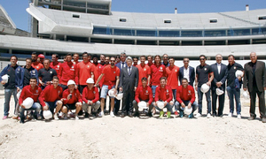 The team visited the site of the New Stadium