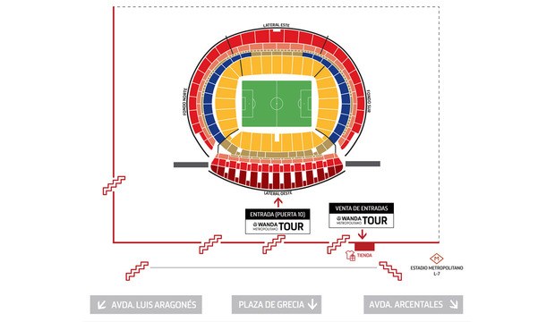 Club atl tico de madrid web oficial horarios for Puerta 3 wanda metropolitano