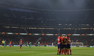 Temp. 17/18 | Ida de octavos | 08/03/18 | Atlético de Madrid - Lokomotiv | Saúl celebración panorámica