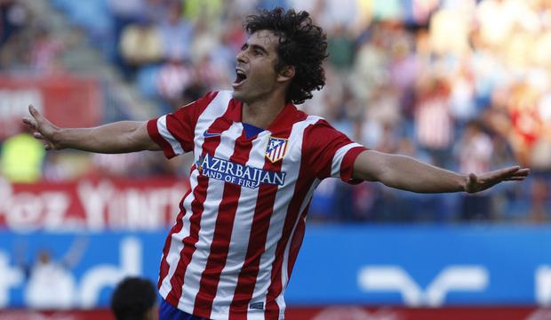 Temporada 2013/2014 Atlético de Madrid - Rayo Vallecano Diego Tiago celebrando su gol al Rayo